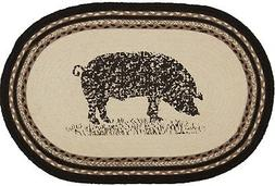 """20"""" x 30"""" Braided Pig Oval Rug Gray Taupe Tan Country Fa"""