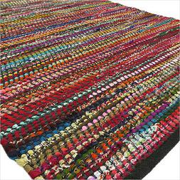 3 X 5 ft Black Colorful Chindi Woven Area Rag Rug Braided Bo