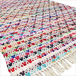 5 X 8 ft Colorful Chindi Woven Area Rag Rug Multicolor White