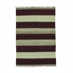 4'x6' Pure Wool Flat Weave Striped Durie Kilim Hand Woven Or