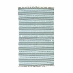 """5'2""""x8'4"""" Flat Weave Hand Woven Striped Durie Kilim Pure Woo"""