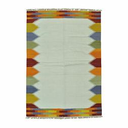 """5'5""""x7'10"""" Ivory Durie Kilim Flat Weave Pure Wool Hand Woven"""