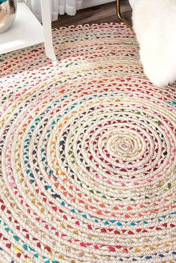 7'X7' Feet Braided Round Chindi Area Rag Rug Hand Knotted Fa
