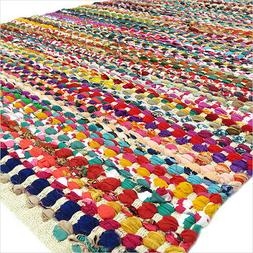 8 X 10 ft Colorful Woven Chindi Area Rag Rug Braided Multico