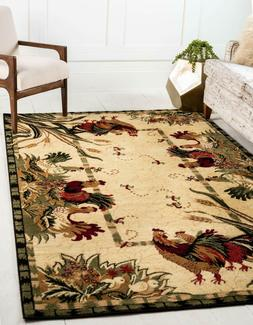 9' x 12' Country Farm Rugs Rooster Beige Red Olive Farmhouse