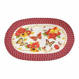 Autumn Floral Butterfly and Flower Braided Accent Rug