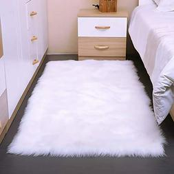AND BEYOND INC Faux Fur Sheepskin Area Rug 3ft x 5ft Fluffy