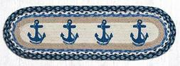 """BLUE ANCHORS 100% Natural Braided Jute Rug, 27"""" x 8.25"""" Oval"""