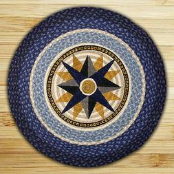 """Blue COMPASS ROSE 100% Natural Braided Jute Rug, 27"""" Round,"""