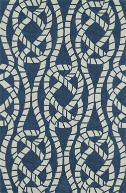 Blue Knots Rope Braids Crossed Contemporary Area Rug Nautica