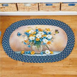 Blue White & Yellow Daisy Bouquet & Butterfly Braided Rug Sp