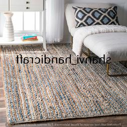 Bohemian Braided Home Living Jute & Denim Rug Rectangle 3x5