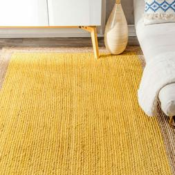 Braided Bohemian Natural Jute and Cotton Blend Area Rug in M