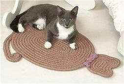 BRAIDED CAT SHAPED KITTY BED RUG MAT W/DECORATIVE BOW IN TAU