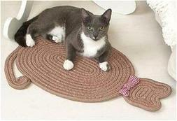 BRAIDED CAT SHAPED PET CAT RUG BED DECORATIVE BOW FOR KITTY