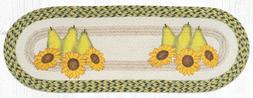 Braided Jute Hand Stenciled Oval Table Runner. Earth Rugs. P
