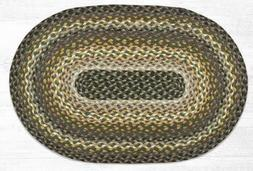 Braided Jute Oval Area Rug. Earth Rugs. BROWN, GREEN. 2 Size