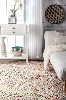 Braided  Round White Cotton Area Rug Natural Recycled Woven