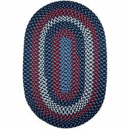 Super Area Rugs Braided Rug Country Cottage Farmhouse in blu