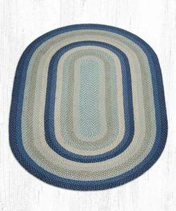 Breezy Blue/Taupe/Ivory Oval Braided Rug