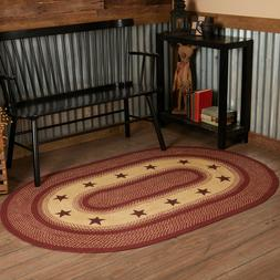 Burgundy Red Star Eco-Friendly Natural Jute Primitive Countr