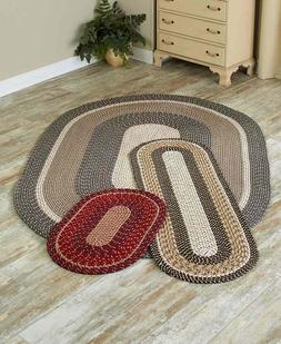 BURGUNDY STONE BROWN DURABLE OVAL BRAIDED ACCENT RUNNER OR A