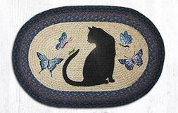 Earth Rugs Cat, Grasshopper And Butterfly  Braided Rug