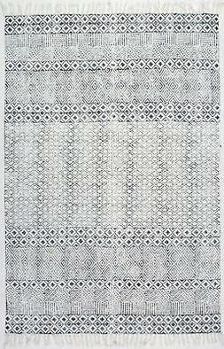 """Nuloom Cotton 7' 6"""" X 9' 6"""" Rectangle Area Rugs In Grey Fini"""