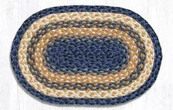 Earth Rugs  Lt & Dark Blue/Mustard Braided Oval Placemat  13
