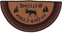 Eco-Friendly Braided Moose Welcome Hearth Rug Half-Circle Re