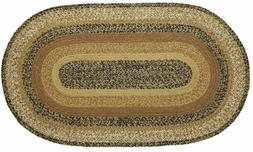Eco-Friendly Country Braided Jute Oval Rug Caramel Brown Ket