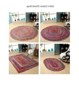 Hand Woven Braided 100% Cotton Area Rug in Multi Color Jute