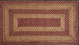 Exquisite Country Farmhouse Burgundy Red & Tan Jute Rectangl