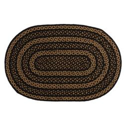 Farmhouse Black & Tan Jute Country Cottage Oval Braided Area