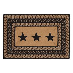 Farmhouse Stenciled Star Black & Tan Jute Country Cottage Re