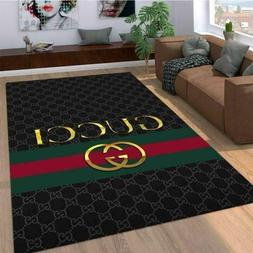 Gucci Gold Pattern Living Room Area Carpet Living Room Rugs