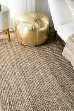 Hand Made Natural Jute and Wool Blend Area Rug with Fringe i