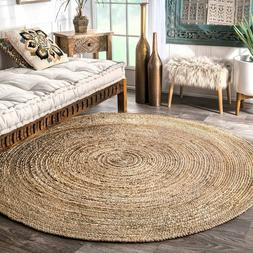 Hand Woven Braided 4' Round Natural Jute Area Rug Use on Mul