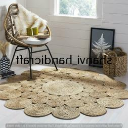 Home Decor Handmade Indian Braided Jute Rug Bohemian Area Ru