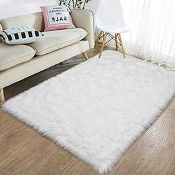 junovo Luxury Fluffy Area Rugs Furry Rug for Bedroom Faux Fu