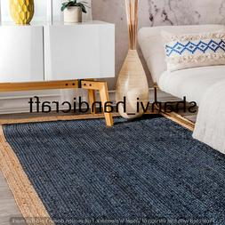 Jute Rug Hand Woven Braided Rectangle 6x9 Feet Area Rugs Nat