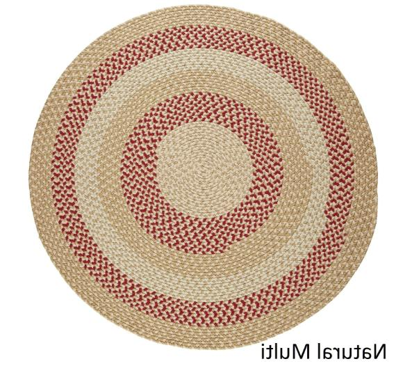 6 ft Round Outdoor Braided Rug Carpet Reversible Natural Home