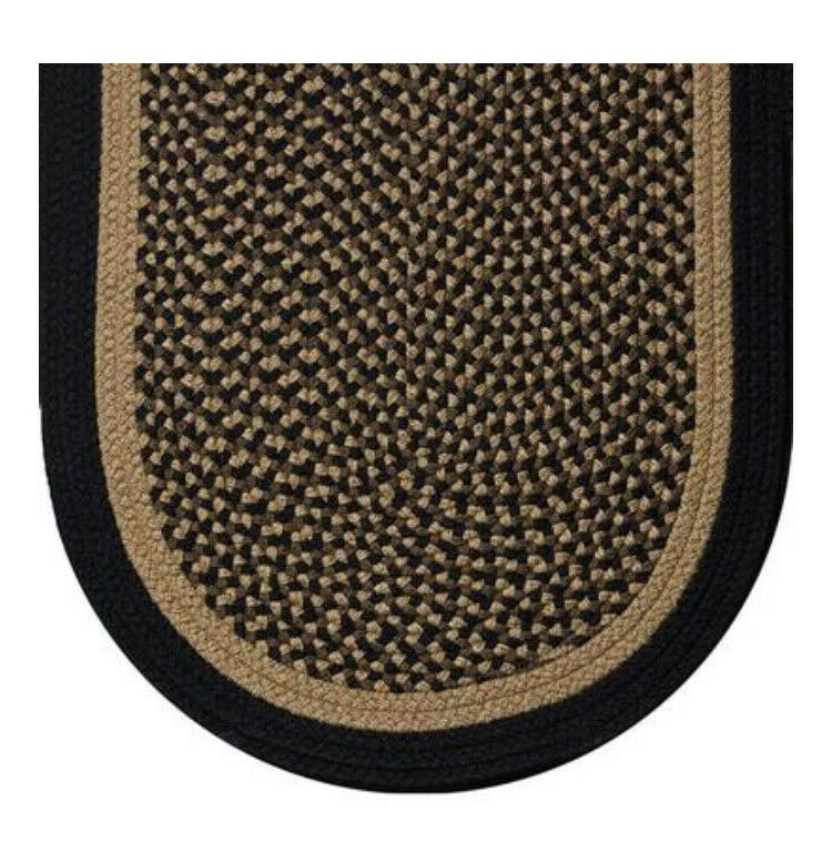 black and tan braided country area rugs