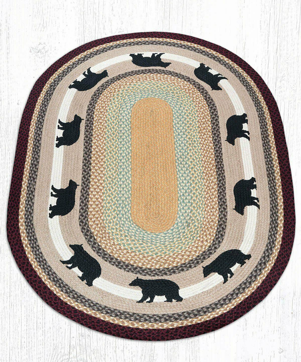 Braided Stenciled Oval CABIN BEAR. Earth Rugs.4 Sizes