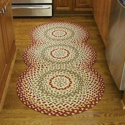 cotton braided area rug red green
