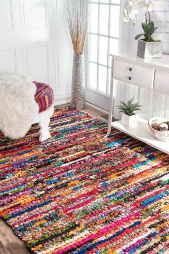 Cotton Rug in Red, Multi