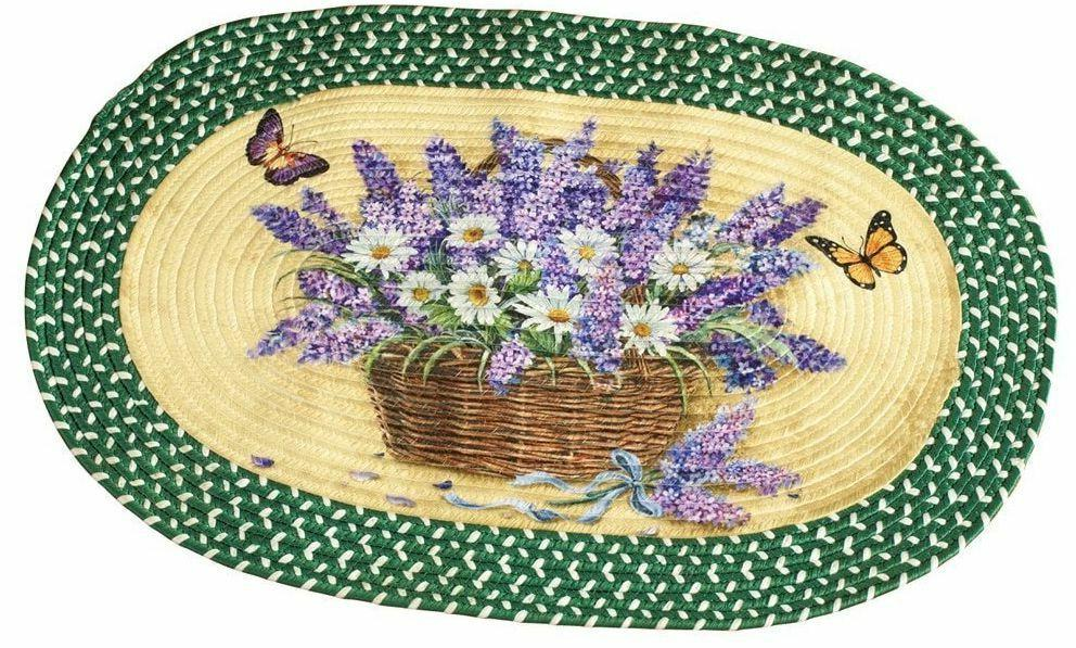 Oval Kitchen Accent Rug DAISIES & BUTTERFLIES