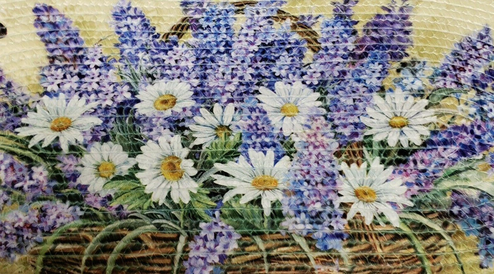 Oval Accent Rug LAVENDER, DAISIES BUTTERFLIES