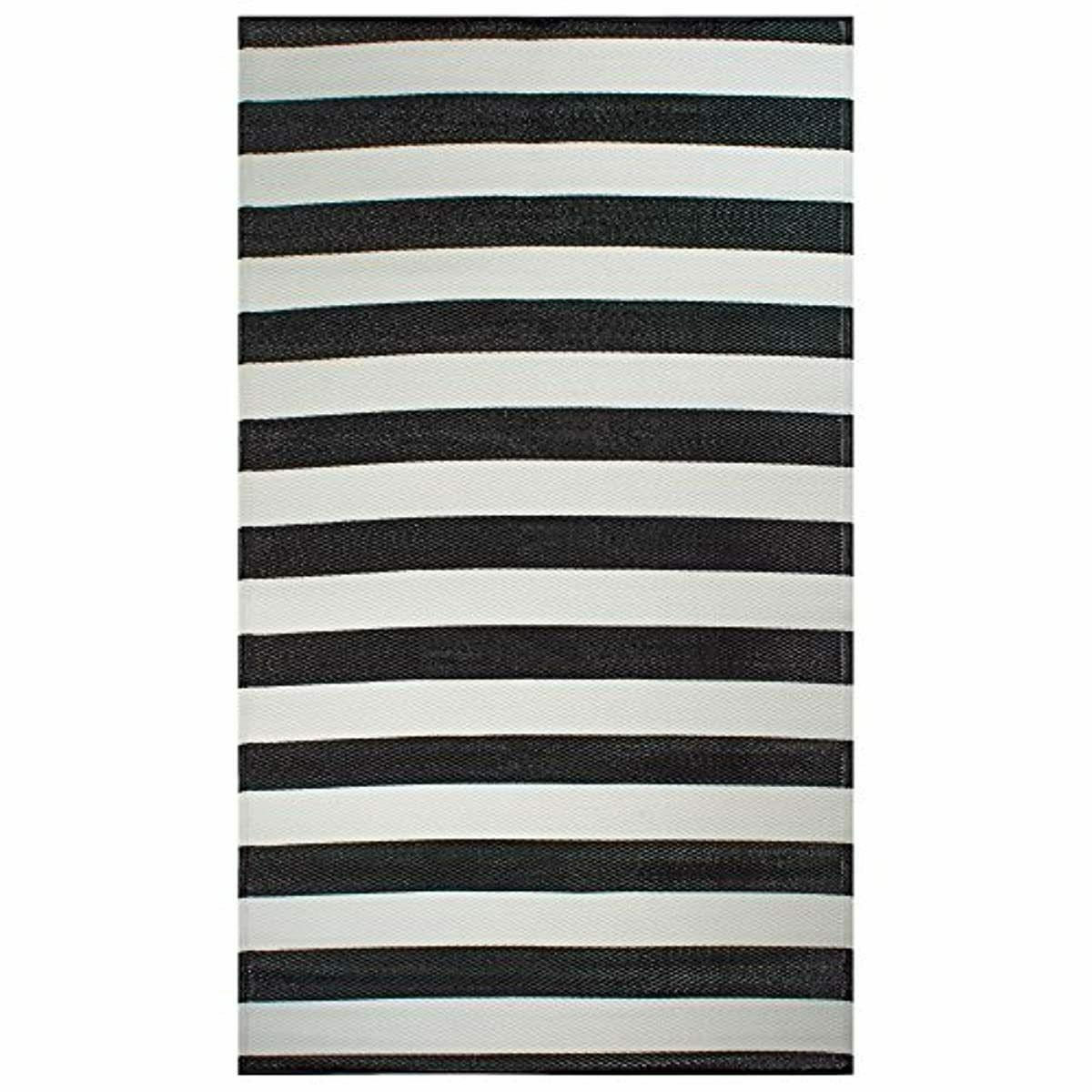 DII Striped Outdoor Rug, 4x6', White &