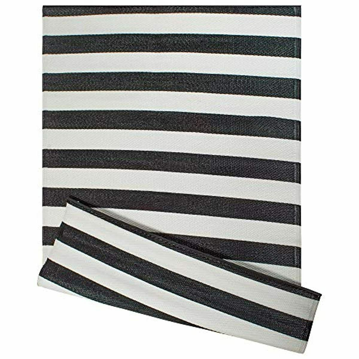 DII Reversible Indoor Striped White & Black